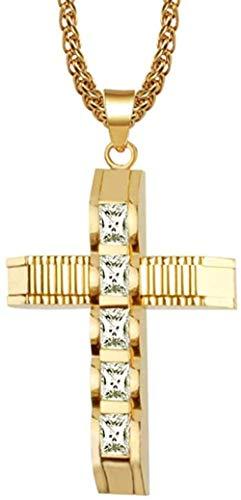 Zaaqio Collar Cruz Colgante Collar para Hombres Mujeres Cadena de Acero Inoxidable Collares crucifijo Encanto Hombres joyería