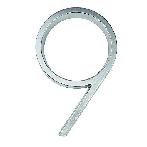 IUIIUI 12cm Silber 3D Haus Anzahl Zeichen Alphabet 5 Zoll, Haustürnummern Außen Adresse # 2 (Color : 9)
