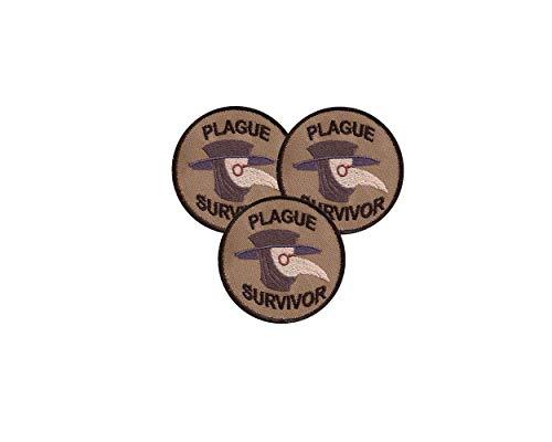 Parche Bordado Velcro,Plague Survivor Geek Merit Badge Patch,La Artesanía Del Bordado, Las Insignias De Velcro, Se Pueden Unir A La Ropa, Mochilas, Sombreros Y Otros Artículos. (3 PCS)