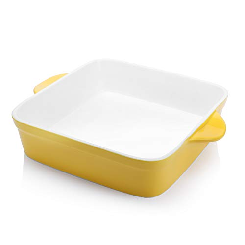 Sweese 514.119 Porcelain Baking Dish, 8 x 8 inch Baker, Square Brownie Pan with Double Handle, Vibrant Yellow