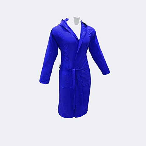 BeeYourHome Accappatoio con Cappuccio in morbida Microfibra, con borsetta esterna, Uomo Donna Blu