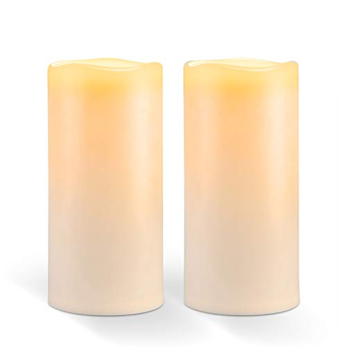 """Amagic 8"""" x 4"""" Outdoor Waterproof Candles, Battery Operated Large Flameless Candles with Timer, Won't melt, Long-Lasting, Ivory, Set of 2"""