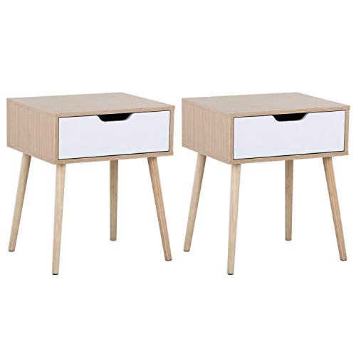 Review Yaheetech Mid Century Bedside Table Nightstand for Bedroom - Sofa Side End Tables with Storag...