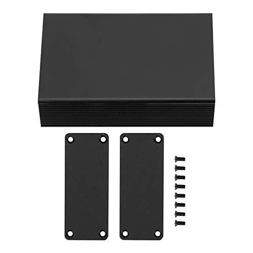 Dibujo de superficie Caja de proyecto de caja de aluminio dividida Caja de instrumentos de PCB Caja de refrigeraci/ón electr/ónica Negro 25 100 mm 25