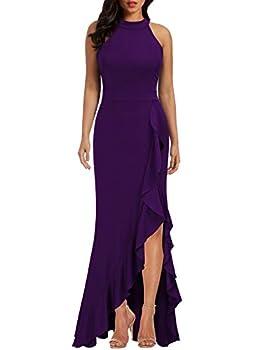 WOOSEA Women s High Neck Split Bodycon Mermaid Evening Cocktail Long Dress Purple