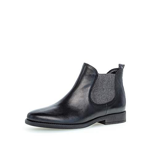 Gabor Damen Stiefeletten, Frauen Chelsea Boots,Comfort-Mehrweite,Reißverschluss, Kurzstiefel uebergangsschuhe,schw/dkgrey(Micro),39 EU / 6 UK