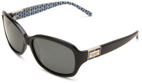 Kate Spade New York Women's Annika Rectangular Sunglasses, Black & Blue/Gray Polarized, 57 mm