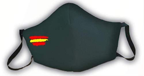 Schutzmaske, grün, zugelassen, Flagge Spanien, 3-lagig