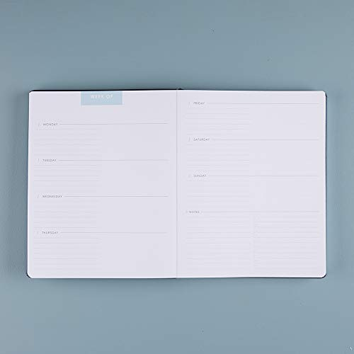 Erin Condren 12 Month Undated Softbound Focused Planner 8x10 - Features a Navy Colored Cover, Layflat Design, College Ruled Lined Note Pages, Dot Grid Note Pages, Monthly and Weekly Planning Spreads