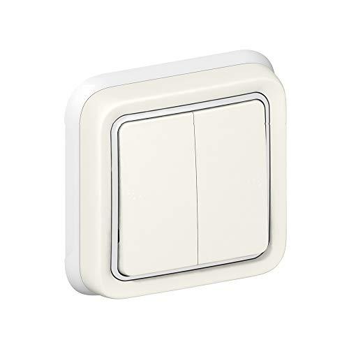 Conmutador doble plexo completo empotrado blanco 10 AX (Legrand 069855)