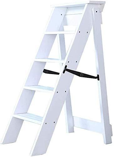 JXXDDQ Taburete plegable de madera con pedal de 5 escalones, escalera de madera, escalera de escalada multifunción, silla de escalera, taburete alto, estante (color: blanco)