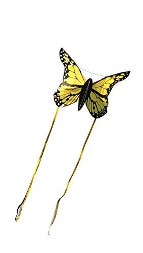 Wolkenstürmer Bella Butterfly Gelb Lenkdrachen für Kinder - 1-Leiner Kinderdrachen mit Gestänge