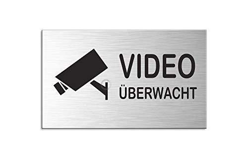 Schild - videoüberwacht | Türschild 60x100 mm Aluminiumschild Edelstahloptik Nr.44637-S