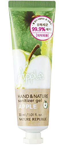 Nature Republic Scented Hand&Nature Sanitizer Gel - Portable & Convenient, Waterless Hand Sanitizer, Natural Scent, Moisturizing and Hypoallergenic, For All Skin Types (Tube 30ml Apple)