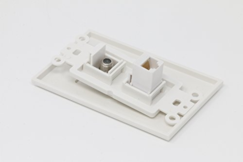 RiteAV - 1 Coax Cable TV F and 1 Cat6 White Ethernet Wall Plate Decorative - White