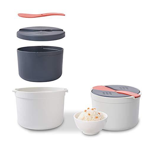 SOOTOP Hervidor de arroz para microondas, vaporizador de arroz Multifuncional de 2 l, con Tapa de colador y Mango, Olla de Vapor para cocinar en casa