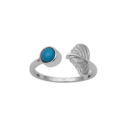 Shine Jewel Anillo de diseño de Plata esterlina 925 con Piedras Preciosas de Turquesa Natural