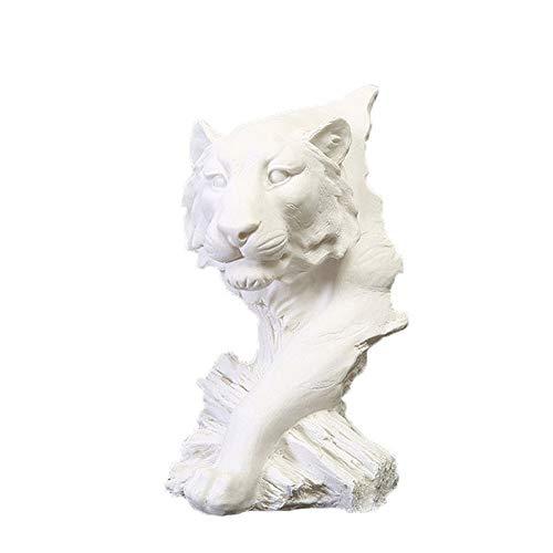 Hancoc Weißer Sand-Tiger-Kopf-Sandstein Verziert Kreatives Skulptur-Harz-Handwerk/Hauptdekorationen