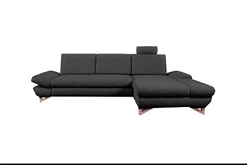 mb-moebel Ecksofa mit Schlaffunktion Eckcouch mit Bettkasten Sofa Couch L-Form Polsterecke Merida (Anthrazit, Ecksofa Rechts)