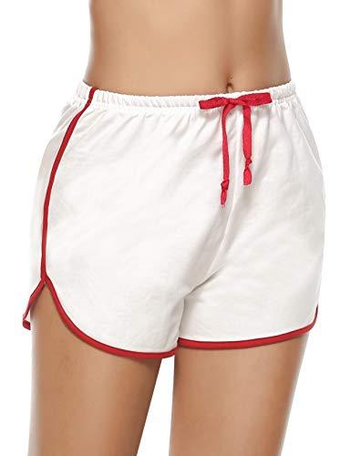 Abollria Shorts de Sport en Coton pour Femme, Bas de Pyjama Femmes Été Shorts Casual Ample Elastique pour intérieur, Yoga, Jogging,Blanc-2020 Style,XL