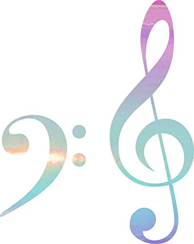 NBFU Decals Treble Bass Clef Heart Music Love 6 (Holographic Opal Purple) (Set of 2) Premium Waterproof Vinyl Decal Stickers Laptop Phone Accessory Helmet Car Window Bumper Mug Tuber Cup Door Wall