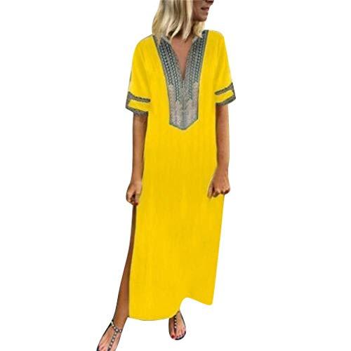 Vimoli Kleider Damen Bedrucktes Kurzarm V-Ausschnitt Party MaxiKleid Saum Baggy Kaftan Langes Kleid Boho Freizeit Kleid (Gelb,De-42/CN-2XL)