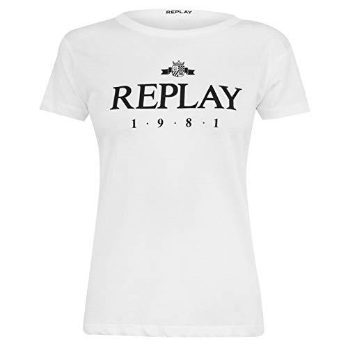 Replay Damen 1981 Logo T-Shirt Rundhals Tee Top Short Gr. 36, Weiß (001)