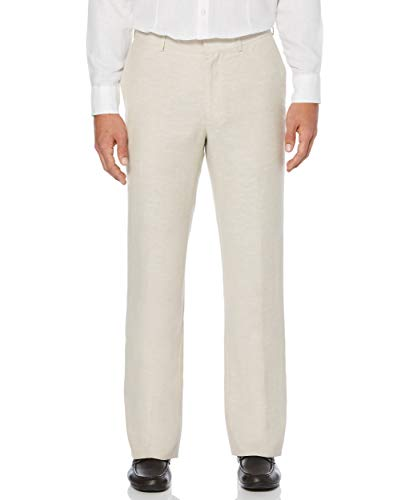 Cubavera Men's Easy Care Linen Blend Flat Front Pant, Khaki, 38x34