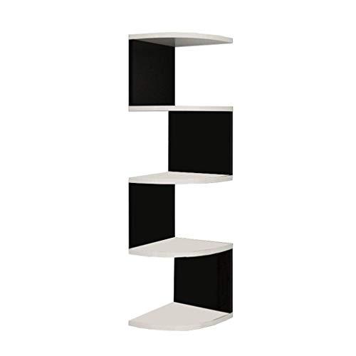 Wandrek, hoekplank, boekenrek, opbergplank, wandplank, hoeken, driehoekig, wandwand (kleur: wit, grootte: diepte 26 cm hoogte 113 cm) Depth 20cm high 88cm Black Square