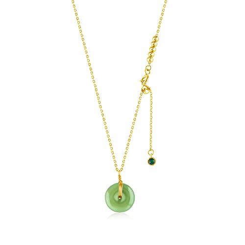 Dainty Hetian Jade Choker Donuts Pendant Necklace Women in 14K Gold Filled 18 inches Long with Green Stone Chinese Means Safe and Good Fortune Gift (Gold and Green)