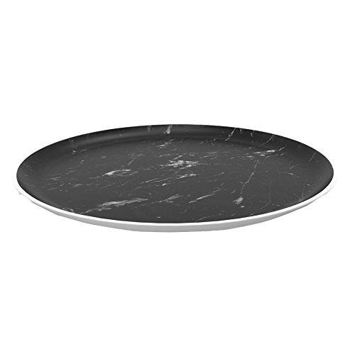 Zak! designs 1304-170 Osmos Assiette, marbre Noir/Blanc