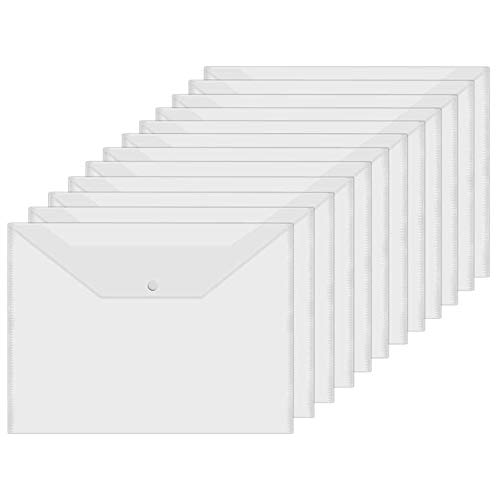 Acrux7 48 PCS Poly Envelope Clear File Envelope A4 Document Folder with Snap Button Plastic Envelopes Waterproof File Folder for School Home Office
