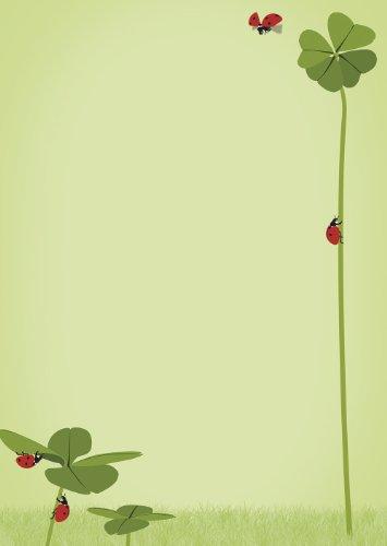 20 Blatt Briefpapier Motivpapier Symbole des Glücks Klee und Marienkäfer DIN A4 90 g/m²