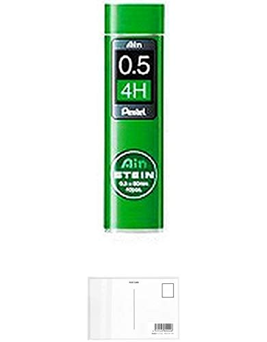 ぺんてる シャープペンシル替芯 Ain 替芯 シュタイン 0.5mm 4H C275-4H 【× 4 パック 】 + 画材屋ドットコム ポストカードA