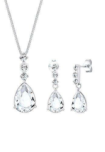 Elli PREMIUM Schmuckset Damen Tropfen Edel mit Swarovski® Kristalle in 925 Sterling Silber