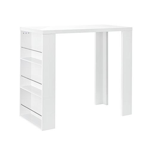 [en. Casa] - Mesa alta tipo bar de madera DM lacada con 3 compartimentos de almacenaje