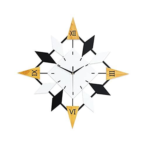 YXIAOL Moderno Números Romanos Retro Relojes para Sala Estar Decoración Grande Silencioso Sin Tictac Operado Madera Reloj Pared Home Wall Art VIIPOO,60 * 60CM/23.62 * 23.62
