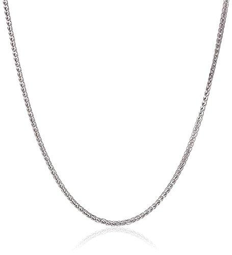 14 Karat / 585 Gold Diamantschliff Spiga Weizen Weißgold Kette - Breite 2 mm - Länge wählbar (40)