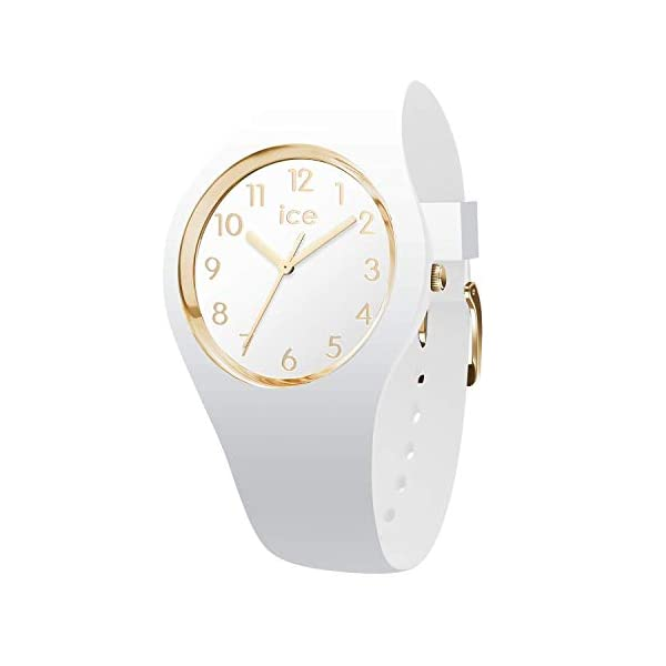 Ice-Watch ICE Glam Medium White Silicone Band Gold Numerals Women's Watch 015339