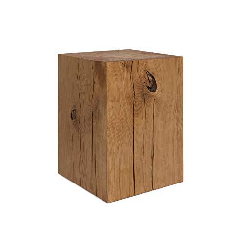 GREENHAUS Holzblock Eiche Massiv 20x20x20 cm Handarbeit und Massivholz aus Deutschland Holzklotz Holzwürfel Eichenklotz