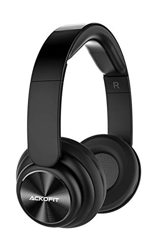 Ackofit Wireless Bluetooth Headphones Over Ear, 8 Hrs Comfortable Upgraded Headphones, Rechargeable, Headphones with Microphone for Phone Tablet(Black)