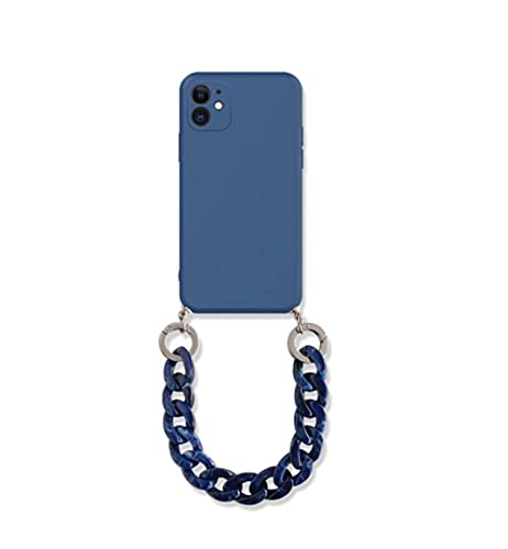 KESHOUJI para iPhone 12 Pro MAX Estuche Mate de Lujo con cordón Pulsera Cadena Bolsa de teléfono Funda de Silicona para iPhone 11 7 8 Plus SE 2020 XR X XS 6, Cadena Azul, para 11 Pro MAX