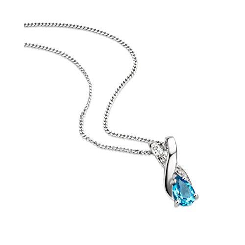 Orovi Schmuck Damen 0.01 Ct Diamant Halskette mit tropfen Anhänger Edelstein/Geburtsstein Topas in blau und Diamanten Brillanten Kette aus Weißgold 9 Karat / 375 Gold, länge 45 cm