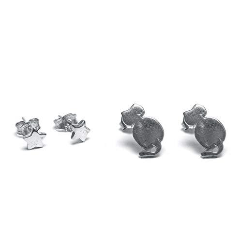 Disfraz LO80231S – Pendientes de gato y estrella chapados en plata