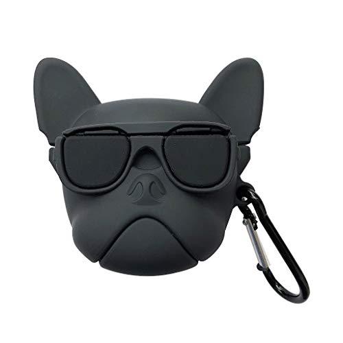 William-Lee Lustiger Hund in Brille Muster Weiche Silikon Schutzhülle Tasche Stoßfest Cover Aufbewahrung Skin Protector mit Karabiner für Airpods 1/2 Ladebox Schwarz