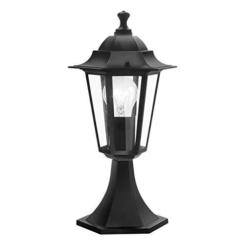 Lampada con base da esterno EGLO LATERNA 4, lampada da esterno 1 punto luce, lampada con base in alluMINIo pressofuso e vetro, colore: nero, attacco: E27, IP44