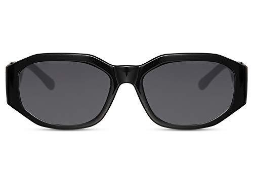 Cheapass Sonnenbrillen ungewöhnliche Form Schwarz großen Bügeln und Löwenkopf graue Linsen UV400 geschützt für Frauen