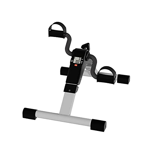 Under Desk Bike Pedal Exerciser with Calorie Tracker and Adjustable Resistance – Mini Foldable Indoor Workout Equipment by Wakeman Fitness