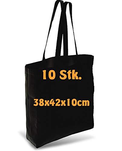 Cottonbagjoe Einkaufstasche | unbedruckt | Seiten-&Bodenfalte | Langen Henkeln | Jutebeutel (Schwarz, 10 Stück)