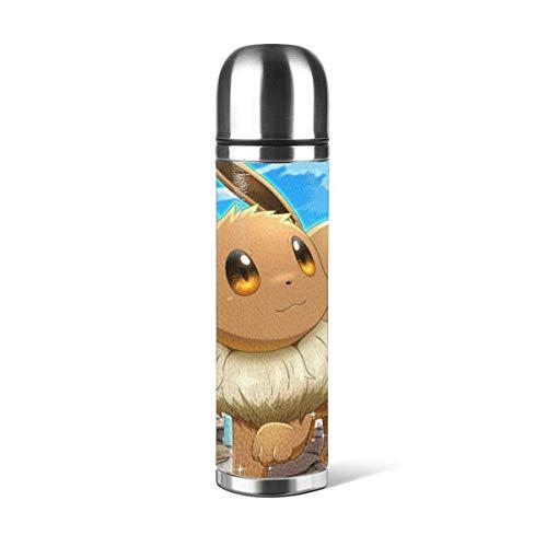 donghu Anime Eevee - Botella de agua de acero inoxidable con aislamiento al vacío, reutilizable, de doble pared, 24 unidades